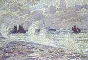 Fishing Boats Prints - The Sea during Equinox Boulogne-sur-Mer Print by Theo van Rysselberghe