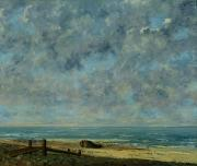 Beach Scenes Posters - The Sea Poster by Gustave Courbet