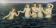 Setting Sun Paintings - The Sea Maidens by Evelyn De Morgan