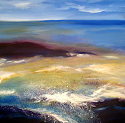 Netherlands Paintings - The sea touching the coast by Nelly Van Nieuwenhuijzen