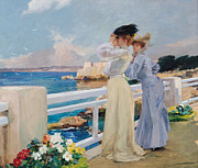 Looking Out Paintings - The Seagulls by Albert Pierre Rene Maignan