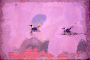 Czintos Background Paintings - The seagulls by Odon Czintos