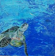Hawaii Sea Turtle Mixed Media - The Search by Kristen Ashton