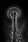 Seattle Center Prints - The Seattle Space Needle at Night Print by David Patterson