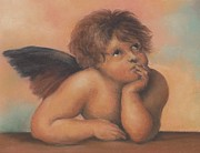 Old Masters Pastels Posters - the second Cherub in pastels after Raphael Poster by Pamela Humbargar