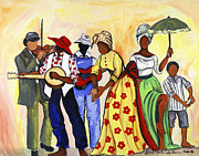 Gullah Paintings - The Second Line by Diane Britton Dunham