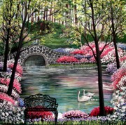 Swans... Paintings - The Secret Azalea Garden by Patricia L Davidson