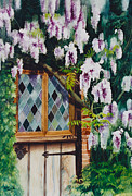 Flowers Painting Prints - The Secret Cottage Print by Eve Riser Roberts