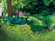 Garden Scene Digital Art Posters - The Secret Garden Poster by Liz Evensen