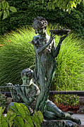 Conservatory Garden Posters - The Secret Garden Memorial Statue and Bird Bath Poster by Robert Ullmann