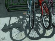 Linda Apple Painting Metal Prints - The Secret Meeting - bicycle shadows Metal Print by Linda Apple