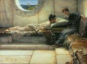 Window Signs Metal Prints - The Secret Metal Print by Sir Lawrence Alma-Tadema