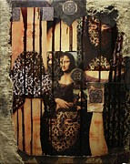 Pallet Mixed Media Framed Prints - The secrets of Mona Lisa Framed Print by Michael Kulick