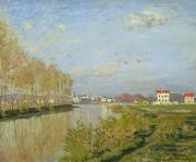 Banks Painting Posters - The Seine at Argenteuil Poster by Claude Monet