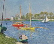 Beside Framed Prints - The Seine at Argenteuil Framed Print by Gustave Caillebotte