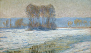 Snowfall Paintings - The Seine at Bennecourt by Claude Monet