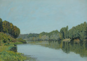 Tranquil Paintings - The Seine at Bougival by Alfred Sisley