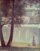 Dog Walking Painting Posters - The Seine at Courbevoie Poster by Georges Pierre Seurat
