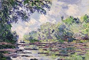 Barge Posters - The Seine at Giverny Poster by Claude Monet