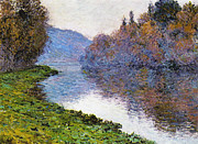 Dappled Light Framed Prints - The Seine at Jenfosse Framed Print by Claude Monet