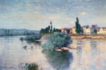 Bank Painting Posters - The Seine at Lavacourt Poster by Claude Monet