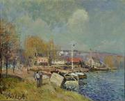 Riverside Building Framed Prints - The Seine at Port-Marly Framed Print by Alfred Sisley