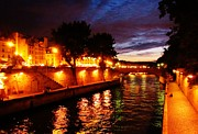 John Malone Artist Framed Prints - The Seine at Sunset Framed Print by John Malone