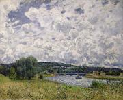 Alfred Posters - The Seine at Suresnes Poster by Alfred Sisley