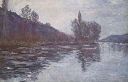 Calm Waters Posters - The Seine near Giverny Poster by Claude Monet