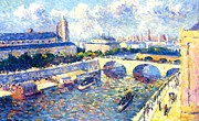 Skylines Paintings - The Seine Paris by Maximilien Luce
