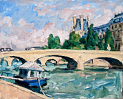 Pissarro Prints - The Seine Paris Print by Thor Wickstrom