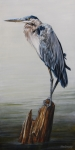 Great Blue Heron Paintings - The Sentinel by Rob Dreyer AFC