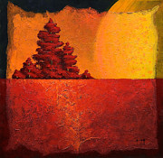 Cypress Tree Digital Art Prints - The Setting Sun Print by Mauro Celotti