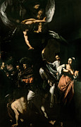 Angel Paintings - The Seven Works of Mercy by Caravaggio