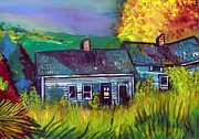 Indiana Autumn Drawings Prints - The Shack Print by Mindy Newman