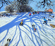 Snow Day Prints - The shadow Derbyshire Print by Andrew Macara