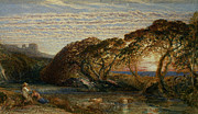 Cattle Metal Prints - The Shadowy Stream Metal Print by Samuel Palmer