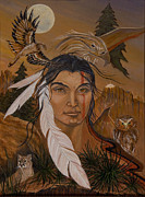 Red-tailed Hawk Paintings - The Shaman by Jeanette Sacco-Belli