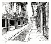 Quaint Drawings - THE SHAMBLES  York England by John Simlett