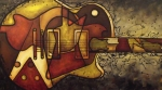 Guitar Painting Prints - The Shape That Defines Us Print by Darlene Keeffe