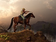 American West Digital Art - The Sharpshooter by Daniel Eskridge
