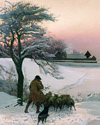 Winter Sunset Paintings - The Shepherd by EF Brewtnall