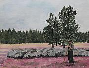 Flock Of Sheep Painting Posters - The Shepherd With His Flock Of Sheeps Poster by Antje Wieser