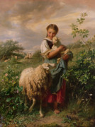 Sheep Framed Prints - The Shepherdess Framed Print by Johann Baptist Hofner