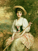 Pink Dresses Prints - The Shepherdess Print by Sir Samuel Luke Fildes