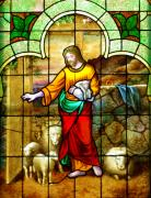 Stained Glass Windows Prints - The Shepherds Entrance Print by Linda Mishler