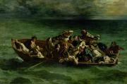 Oars Painting Posters - The Shipwreck of Don Juan Poster by Ferdinand Victor Eugene Delacroix
