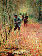 Autumn Woods Prints - The Shoot Print by Claude Monet