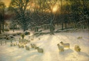 Grazing Snow Prints - The Shortening Winters Day is Near a Close Print by Joseph Farquharson