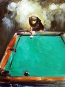 Pocket Billiards Prints - The Shot Print by Sheila Tajima